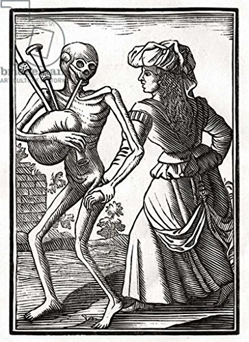 """Stampa artistica / Poster: Anonymous """"Death comes for the Unbelieving Woman, from 'Der Todten Tanz', published Basel, 1843"""" - stampa di alta qualità, immagini, poster artistici, 70x95 cm"""