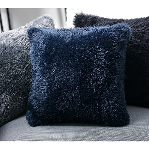 Extra Long Throw Pillows : Knitee Extra Soft Long Faux Fur Throw Pillow Cover Cushion Case Square 18