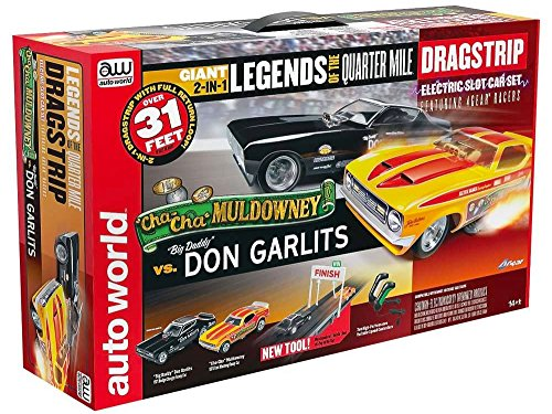 Auto World Legends of the Quarter Mile Dragstrip, HO Scale Slot Racing Set, 31'