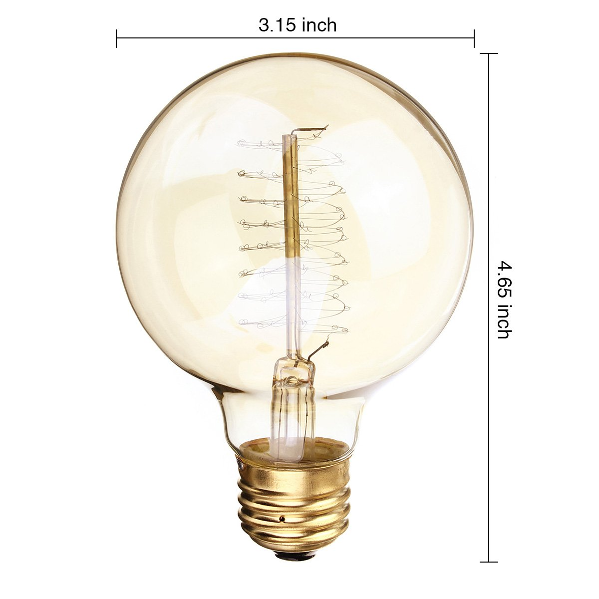 KINGSO Vintage Edison Bulb 60W Incandescent Antique Dimmable Light Bulb Dimmable for Home Light Fixtures Squirrel Cage Filament E27 Base G80 110V (4 Pack) 4