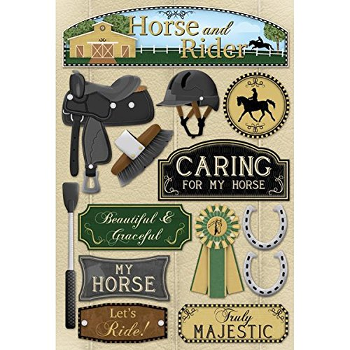 """Horse Cardstock Stickers 5.5""""X9""""-Horse & Rider"""