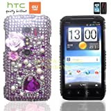 htc EVO 3Dケース shiny decoration Case (au ISW12HT対応)【ハンドメイド/デコ電】【Jewel flower Purple(パープル)】