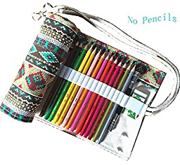 iSuperb® Colored Pencil Wrap Organizer Roll Pouch Canvas Multi-purpose Drawing Pencil Bag Holder for School Office 48 Holes (Tartan Pattern)