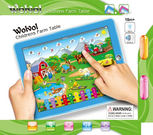 WolVol Childrens Farm Tablet (BLUE), Touch-Screen Lights and Sound (9in*7in) - Great Gift Idea for Small Kids