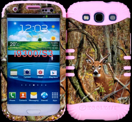 Hybrid Impact Rugged Cover Case Mossy Camo Real Deer Hard Plastic Snap On Baby Pink Silicone For Samsung Galaxy Slll S3 Fits Sprint L710, Verizon I535, At&T I747, T-Mobile T999, Us Cellular R530, Metro Pcs And All front-878245