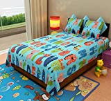Home Candy Dancing Alphabets Cotton Double Bedsheet with 2 Pillow Covers - Blue