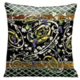 Lama Kasso Como Gardens Golden Grape Vines with Purple and Green Accents on a Black Micro-Suede 18-Inch Square Pillow Design on Both Sides