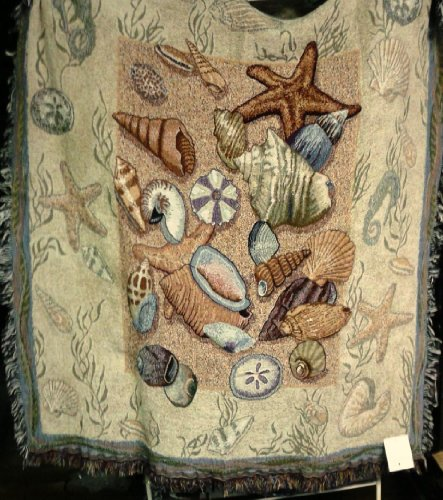 """Seashell Collection Beachside Tapestry Throw Blanket 50"""" X 60"""""""