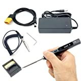NovelLife 65W Mini TS100 Electric Soldering Iron Kit,Adjustable Temperature,Programmable STM32 Chip,Digital OLED Screen Display with TS B2 Solder Tip,Power Supply,XT60 Power Cord (Black B2 Tip) (Color: Black B2 Tip)