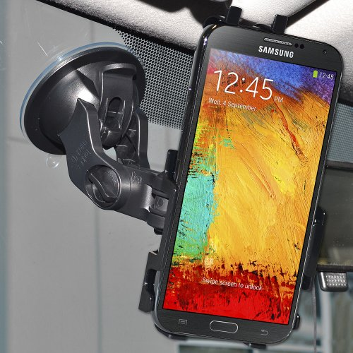 Amzer Suction Cup Mount Holder for Windshield, Dash or Console For Samsung Galaxy Note 3 N9000 (Fits All Carriers) - Retail Packaging - Black