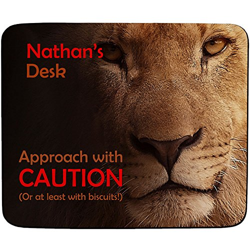 nathans-desk-approach-with-caution-lion-design-personalised-name-mouse-mat-premium-5mm-thick