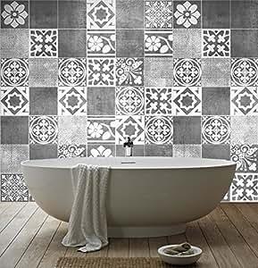 sticker art carrelage d co deluxe pour salle de bain pack avec 56 15 x 15 cm. Black Bedroom Furniture Sets. Home Design Ideas