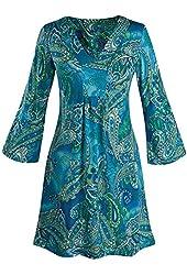 Women's Pretty In Paisley Bell Sleeve Blue Tunic Dress
