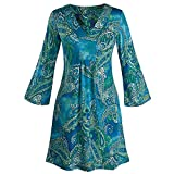 Women's Pretty In Paisley Bell Sleeve Tunic Dress - Blue