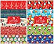 10 SHEETS CHRISTMAS GIFT WRAP WRAPPING PAPER ASSORTED CUTE & TRADITIONAL DESIGNS