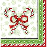 Creative Converting 666910B 36 Count Candy Cane Bliss Paper Lunch Napkins