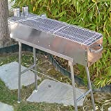 "Party Griller 32"" Stainless Steel Charcoal Barbecue Grill w/ 2x Stainless Steel Mesh Grate - Kebab Grill, Satay, Yakitori Grill, Portable BBQ Makes Juicy Shish Kebob, Shashlik, Spiedini on the Skewer"