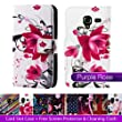 Case cover for Samsung Galaxy Ace 2 (Ace II) i8160 - designer book wallet PU leather case cover + screen protector and cloth by 32nd� - Purple Rose