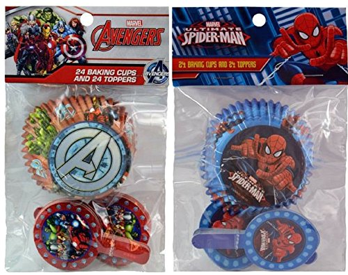 Marvel Avengers and Ultimate Spiderman 48 ct Baking Cups and Toppers