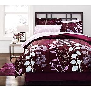 purple lavender adult queen comforter 8 piece bed in a bag home kitchen. Black Bedroom Furniture Sets. Home Design Ideas