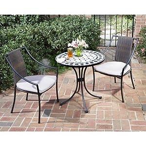 Home Style 5605-340 3-Piece Outdoor Bistro Set, Black Finish