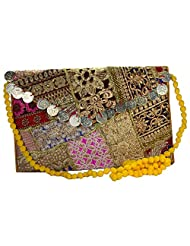"""Arisha Kreation Co Smart Ethnic Banzara Multicolor & Sliver Coin Design On Flap With 25"""" Yellow Sling Bag (Yellow..."""
