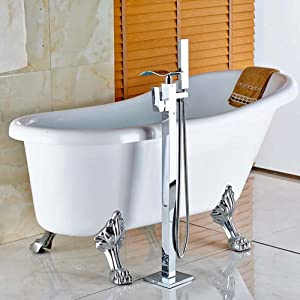 Votamuta Floor Mounted Waterfall Spout Tub Shower Faucet Free Standing Bathtub Filler 1 Handle with Handheld Spray Head,Chrome Polished (Color: 002)