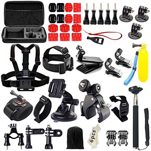 Iextreme 48-in-1 Action Camera Accessories Kits for Gopro 4/3/2/1 SJ4000 SJ5000 Accessory Bundles with Chest Harness Mount/Suction Cup Mount/Selfie Stick/Folating Hand Grip
