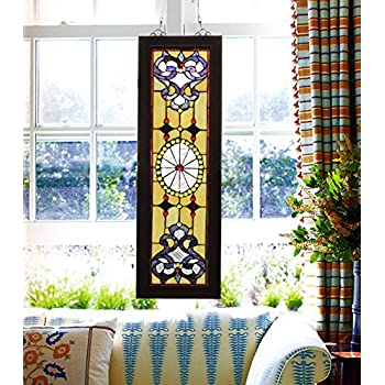 Makenier Vintage Tiffany Style Stained Church Art Glass Decorative Long and Narrow Window Panel Wall Hanging