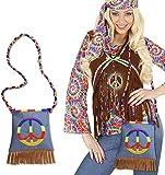 Hippie Peace hippie Bolsa para los años 70Franse con Flower Power Bolsa años 60-Bolso retro Disfraz de carnaval para Fiesta temática plástico funda accesorios Mujer