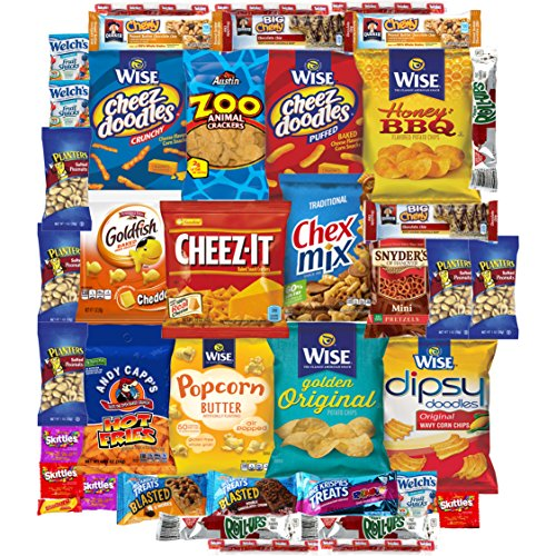 Super Crackers Chips Cookies Candy Care Package Bulk Sampler (40 Count) (Super Hot Cheese Dip compare prices)