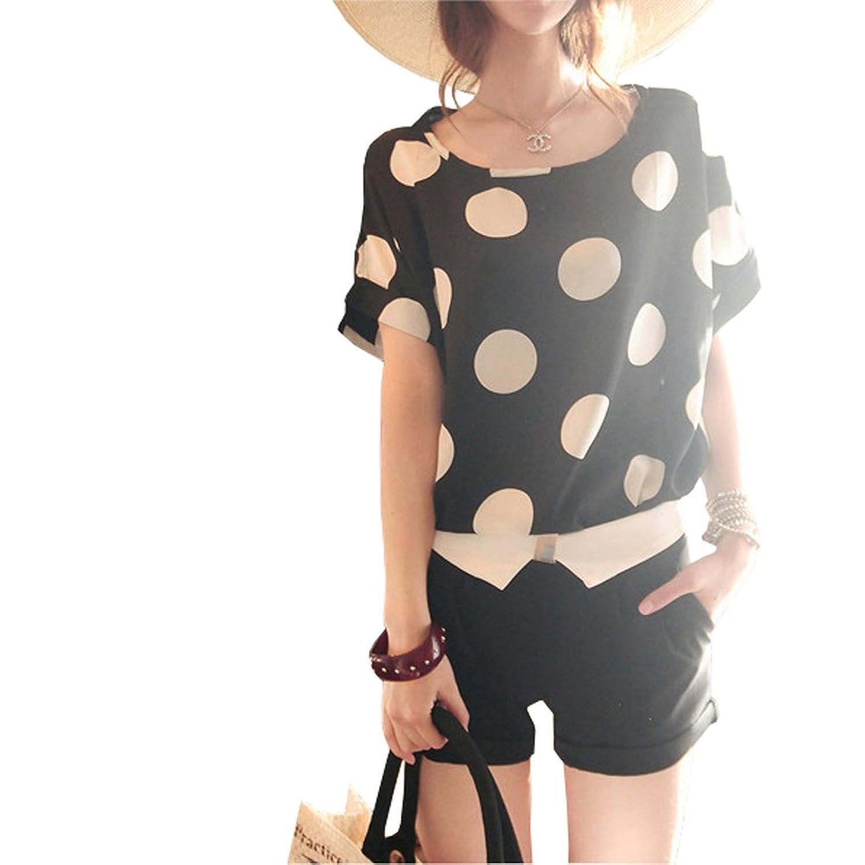 VOBAGA Women's Bird Heart Geometric Print Short Sleeve Chiffon Top T-shirt Blouses cute bird chiffon top