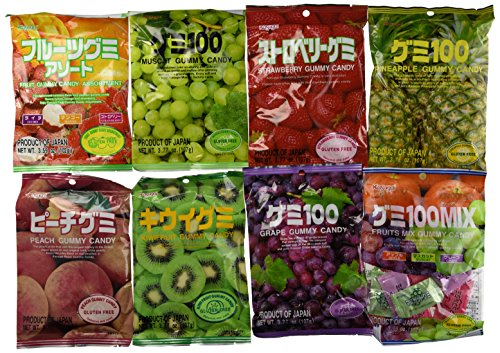 Taste of Japan #2 - Kasugai Gummy with Real Fruit Juice Sampler Party Pack (12 Bags, At Least 6 Flavors !) - 3.57 Lbs (Kasugai Fruit Gummy Candy compare prices)