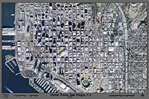 "Laminated Downtown San Diego, California satellite poster print view photo map with road names: 36""x24"" glossy"