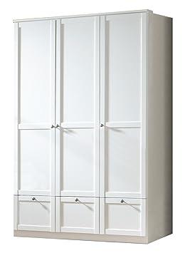 Wimex 318273 Kleiderschrank B/H/T: 135/197/58 cm 3-turig mit drei Schubkästen, Front und Korpus Alpinweiß, Landhausoptik Griffe Messing
