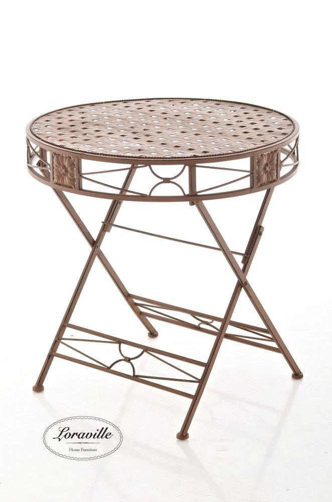 CLP handgefertigter runder Design Klapptisch TINETTO, Durchmesser 72 cm, in nostalgischem Design (aus bis zu 2 Farben wählen) runder Eisentisch antik braun günstig