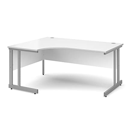 DAMS Momento Left Handed Ergonomic Desk, Wood, White, 1600 mm