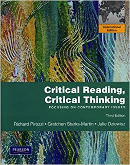 critical reading critical thinking focusing on contemporary issues by richard pirozzi The first developmental reading book to take a contemporary issues approach, critical reading,  by richard pirozzi  critical thinking and contemporary issues.