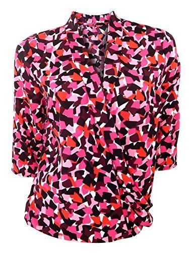 marks-spencer-pink-red-black-graphic-print-blouse-with-cross-over-front-size-10