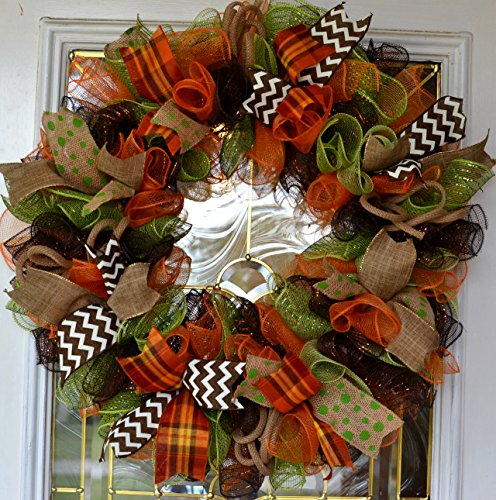 Fall Thanksgiving Deco Mesh Door Wreath; Brown Green and Orange