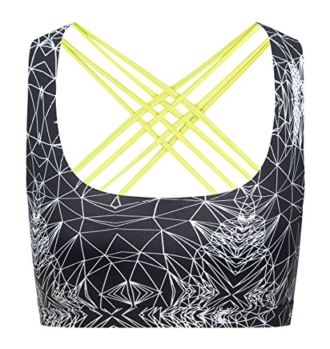 6c683fa151bfc QK Womens Yoga Sport Bra Light Support Strappy And Open-Back Bra Performance