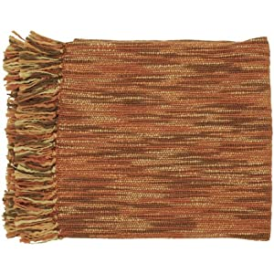 "55"" x 78"" Misty Treasure Orange Rust, Coral and Brown Throw Blanket"