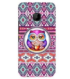 PrintVisa HTCOM9+-Stylish Cool Girl Print & Pattern Owl Back Cover (Multicolor)