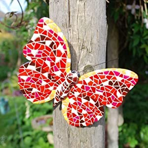 Red Coloured Mosaic Wall Mountable Butterfly Garden Wall Art Ornament from Gardens2you