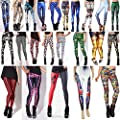 Stretch Knitted Active Mid Print Leggings For Womens Girls Capri Pants