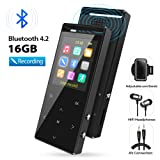 MP3 Player, MP3 Player with Bluetooth, 16GB Portable Digital Music Player with FM Radio/Recorder, HiFi Lossless Sound Quality, Music Direct Recording, Expandable up to 128GB TF Card, with Armband (Color: K188-16GBluetooth)