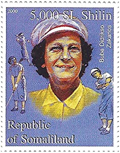 Lady golfers - Female golf stars stamp sheet with Betty Jameson, Patty Berg, Betsy King and Louise Suggs - 9 mint stamps - Somalia