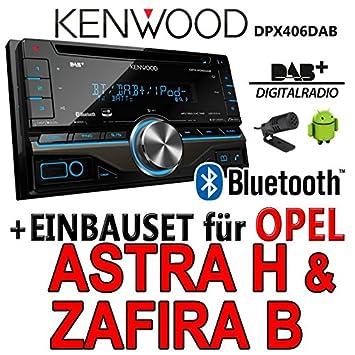 Opel astra h, zafira b argenté dPX406DAB - 2DIN bluetooth kenwood autoradio dAB uSB avec kit de montage