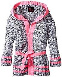 Girls Rule Little Girls\' Belted Hooded Duster Cardigan, Pink, 6