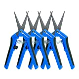 Happy Hydro - Trimming Scissors - Curved Tip - Teflon Coated Non Stick Blades - 4 Pack